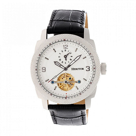 Heritor Helmsley Mens Automatic Black Leather Strap Watch-Herhr5005