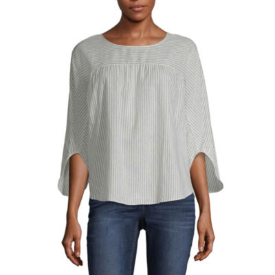 a.n.a Ana Boxy Striped Woven Top Womens Crew Neck 3/4 Sleeve Woven Ruffled Blouse