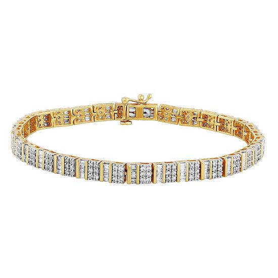3 Ct Tw Genuine Diamond 10k Gold 75 Inch Tennis Bracelet