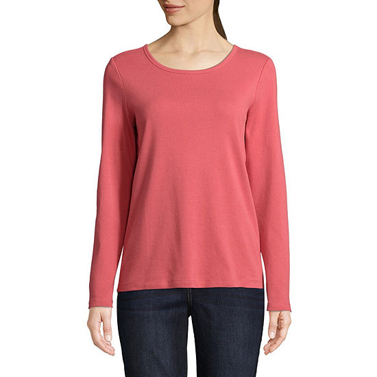 St. John's Bay-Womens Round Neck Long Sleeve T-Shirt