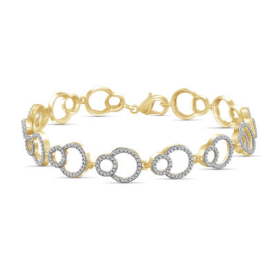 Womens 7 1/2 Inch Diamond Accent White Diamond Brass Link Bracelet