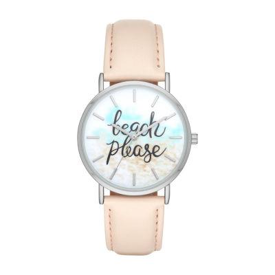 """""""Beach Please"""" Womens Pink Strap Watch-Fmdbp001c"""