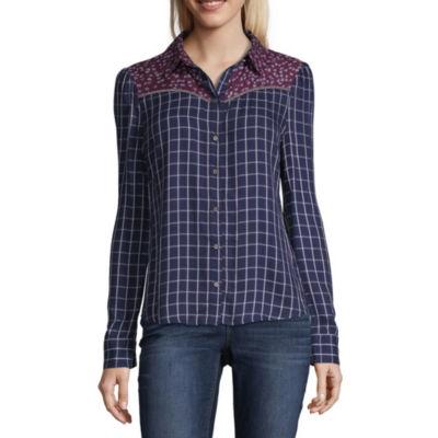 a.n.a Ana Print Mix Western Shirt Womens Long Sleeve Modern Fit Button-Front Shirt