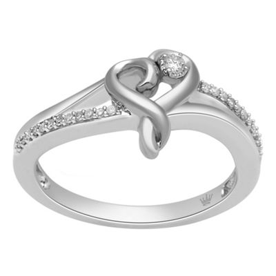 Hallmark Diamonds Womens 1/10 CT. T.W. Genuine White Diamond Sterling Silver Heart Cocktail Ring