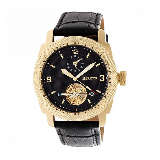 Heritor Helmsley Mens Automatic Black Leather Strap Watch-Herhr5007