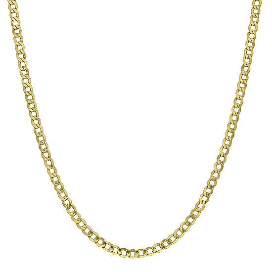 10K Gold 16 Inch Semisolid Curb Chain Necklace