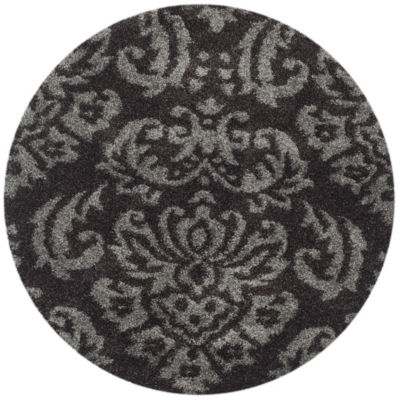 Safavieh Shag Collection Mario Damask Round Area Rug