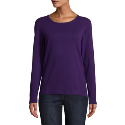 St. John's Bay-Womens Round Neck Long Sleeve T-Shirt