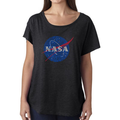 Los Angeles Pop Art Women's Loose Fit Dolman Cut Word Art Shirt - NASA's Most Notable Missions