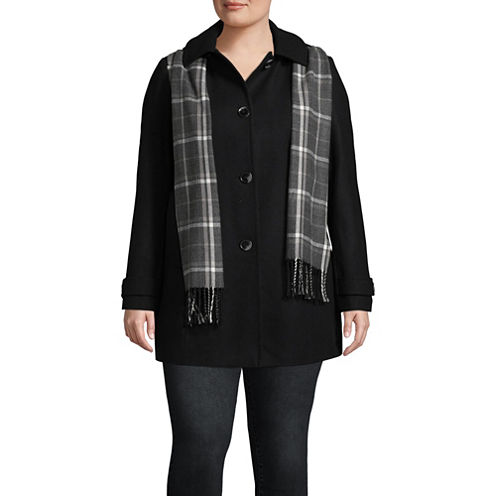 St. John's Bay Heavyweight Peacoat-Plus