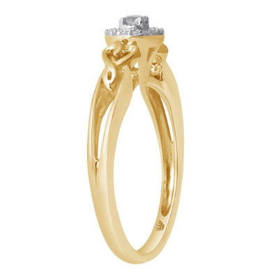 Hallmark Diamonds Womens 1/10 CT. T.W. Genuine White Diamond 14K Gold Over Silver Heart Delicate Cocktail Ring