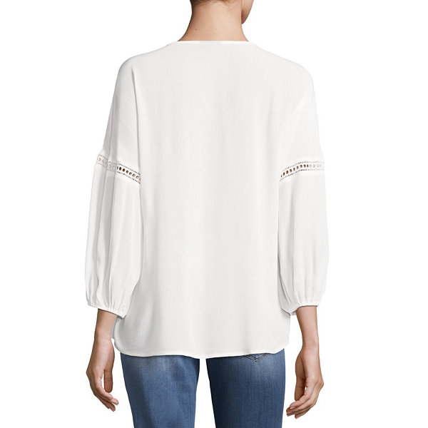 a.n.a Long Sleeve Balloon Sleeve Peasant Top