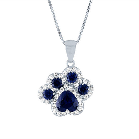 Womens Lab Created Blue Sapphire Sterling Silver Paw Print Pendant Necklace