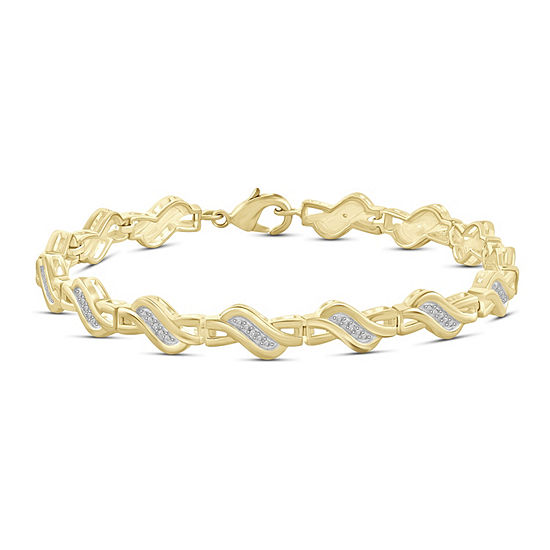 14K Gold Over Brass 7.5 Inch Solid Round Link Bracelet