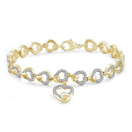 Diamond Accent White Diamond 14K Gold Over Brass Round Charm Bracelet