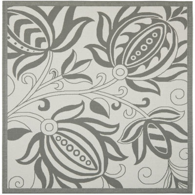 Safavieh Courtyard Collection Tarek Floral Indoor/Outdoor Square Area Rug
