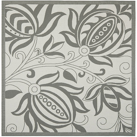 Safavieh Courtyard Collection Tarek Floral Indoor Outdoor Square Area Rug