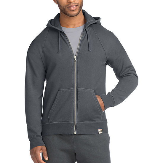 Hanes Mens 1901 Heritage Raglan Fleece Hooded Jacket