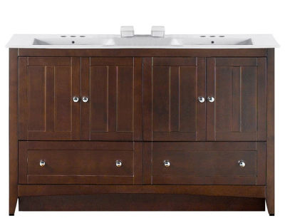 59-in. W Floor Mount Walnut Vanity Set For 3H4-in.Drilling