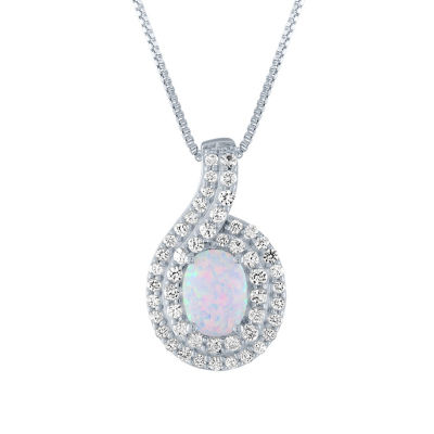 Womens Lab Created Multi Color Opal Sterling Silver Pendant Necklace
