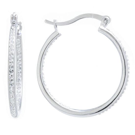 Silver Treasures 1 Pair Pure Silver Over Brass Hoop Earrings