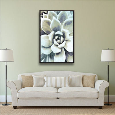 Blue Succulent Floater-Framed Gallery Wrapped Canvas