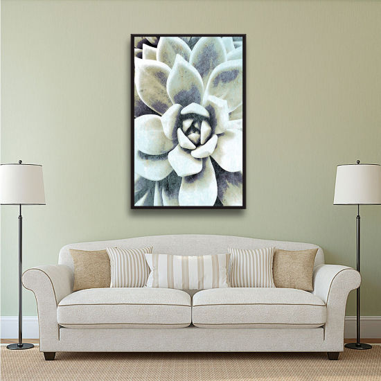 Brushstone Blue Succulent Floater-Framed Gallery Wrapped Canvas