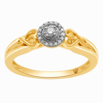 Hallmark Diamonds Womens 1/10 CT. T.W. Genuine White Diamond 14K Gold Over Silver Heart Cocktail Ring