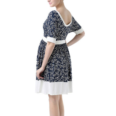 Glow & Grow Women's Batwing Sleeve Printed Maternity Dress