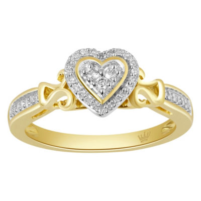 Hallmark Diamonds Womens 1/7 CT. T.W. Genuine White Diamond 14K Gold Over Silver Heart Cocktail Ring