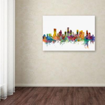 Trademark Fine Art Michael Tompsett Houston TexasSkyline Giclee Canvas Art