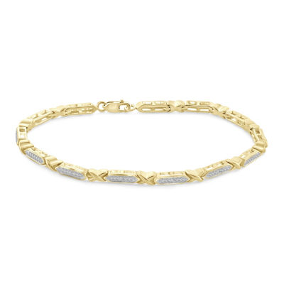 14K Gold Over Brass 8 Inch Solid Round Link Bracelet