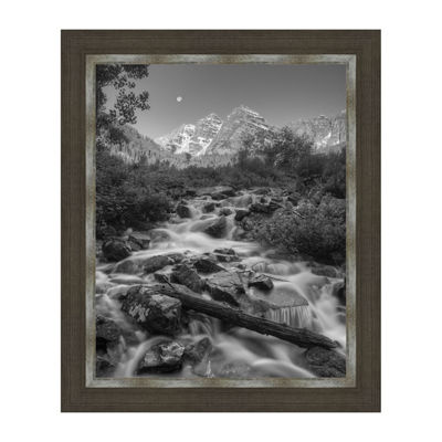 Black and White Maroon Bells Framed Canvas Art
