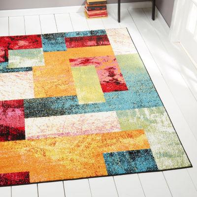 Home Dynamix 3-Piece Splash Scarlet Abstract Rectangular Rug Set