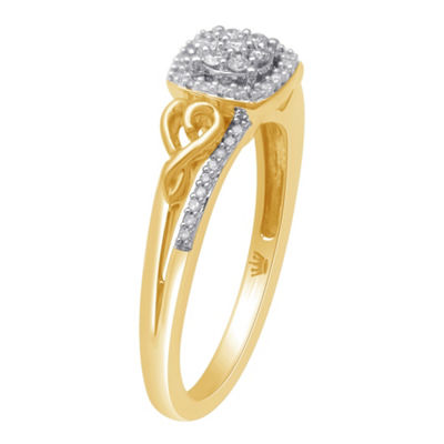 Hallmark Diamonds Womens 1/7 CT. T.W. Genuine White Diamond 14K Gold Over Silver Heart Delicate Cocktail Ring