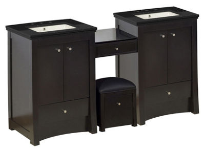 68.75-in. W Floor Mount Distressed Antique WalnutVanity Set For 3H8-in. Drilling Black Galaxy Top Biscuit UM Sink
