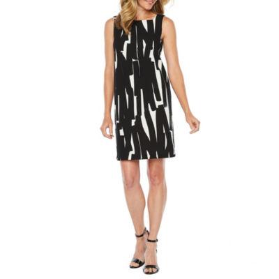 London Style Sleeveless Abstract Sheath Dress
