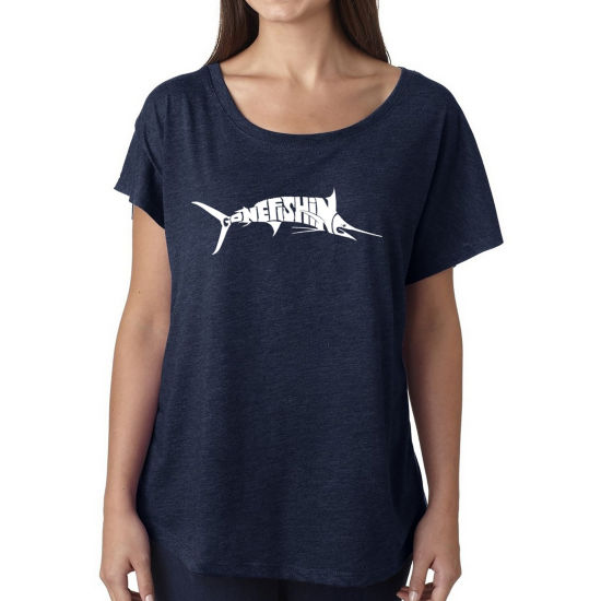 Los Angeles Pop Art Women's Loose Fit Dolman Cut Word Art Shirt - Marlin - Gone Fishing