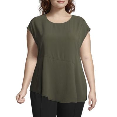 Worthington Cap Sleeve Asymmetrical Blouse - Plus
