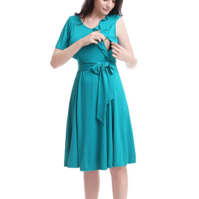 Glow & Grow Women's Ruffle Sleeve Maternity/Nursing Dress