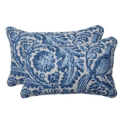 Pillow Perfect Tucker Resist Azure Set of 2 Rectangular Outdoor Throw Pillows