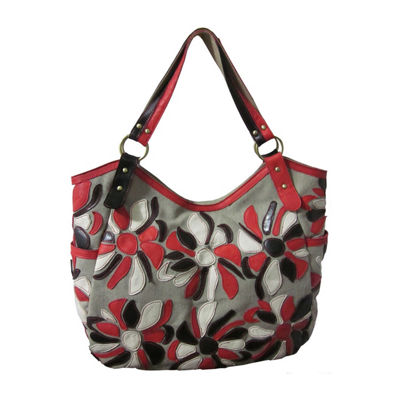 Amerileather Flora Leather Tote Bag