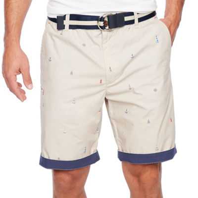 Society Of Threads Mens Mid Rise Stretch Chino Shorts
