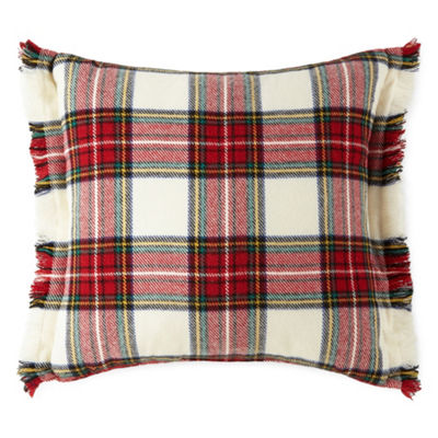 Peyton & Parker Woven Plaid Fringed Square Throw Pillow