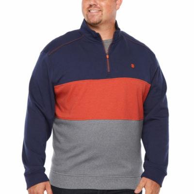 IZOD Advantage Performance Color Blocked 1/4 Zip Fleece Long Sleeve Sweatshirt Big and Tall