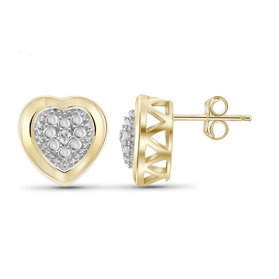 Diamond Accent White Diamond 14K Gold Over Brass 10.4mm Round Stud Earrings