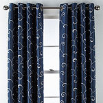 JCPenney Home Plaza Embroidery Blackout Grommet-Top Curtain Panel