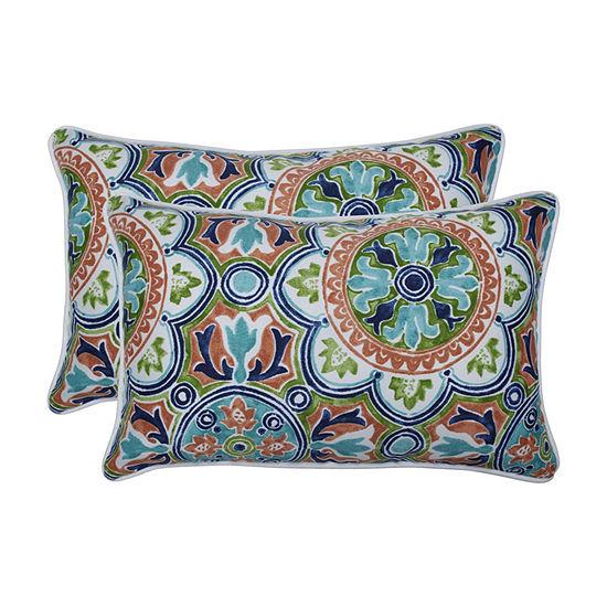 Pillow Perfect Lagoa Tile Flamingo Set of 2 Rectangular Outdoor Throw Pillows