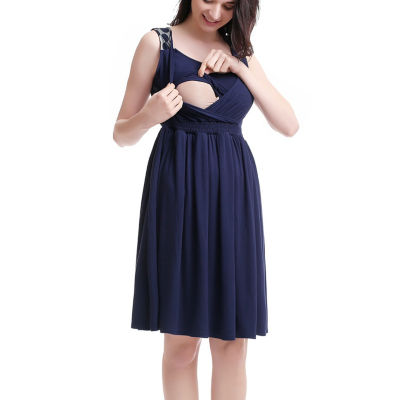 Glow & Grow Women's Polka Dot Lace Back Maternity/Nursing Dress