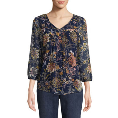 St. John's Bay 3/4 Sleeve Split Crew Neck Woven Lined Floral Blouse